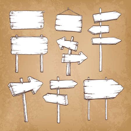 signposts: Set of vintage signposts and signboards on old paper background. Hand drawn vector illustration. Illustration