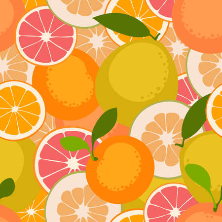 Fruit seamless pattern withcitrus fruits. Vector illustration.