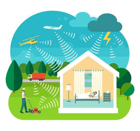 adentro y afuera: ilustración plana del vector del estilo de la casa de insonorización. Cortadora de césped, camión, helicóptero, avión y tormentas eléctricas hacen ruido. La muchacha duerme en silencio dentro de la casa.