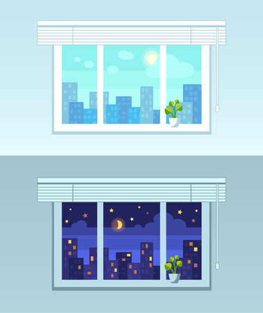 flowerpots: Window, city view.  Night and day versions. Flat style vector illustration. Illustration