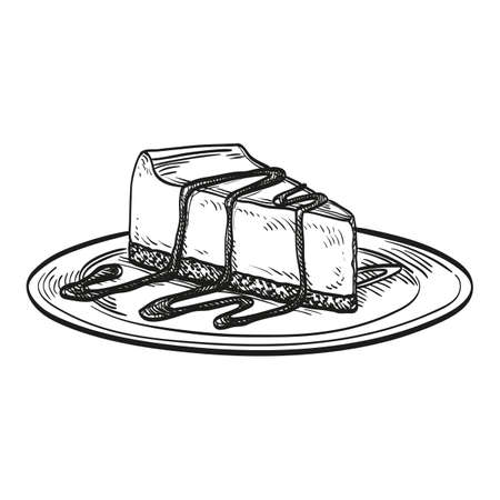 Cheesecake isolated on white background. Hand drawn vector illustration. Retro style.