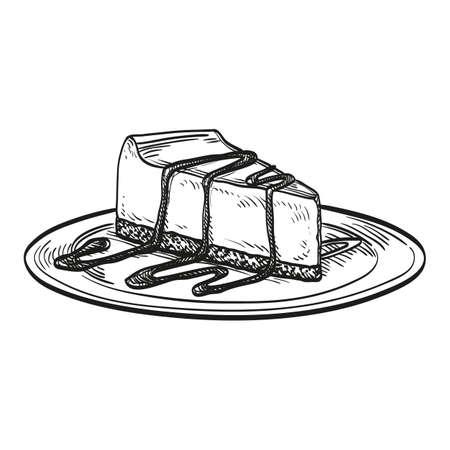 Cheesecake op een witte achtergrond. Hand getrokken vector illustratie. Retro stijl.