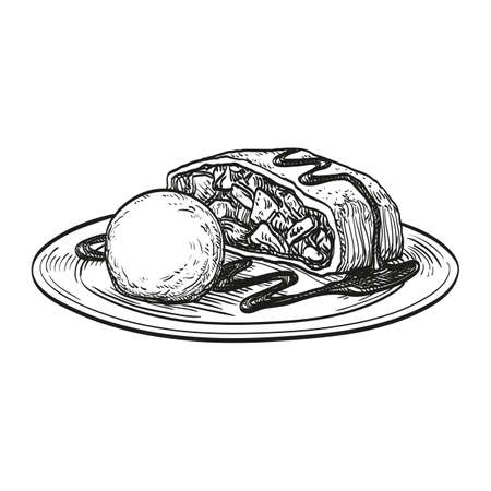 Apple strudel with ice cream isolated on white background. Hand drawn vector illustration. Retro style.