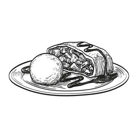 Strudel de manzana con helado aislado sobre fondo blanco. Dibujado a mano ilustración vectorial. Estilo retro.