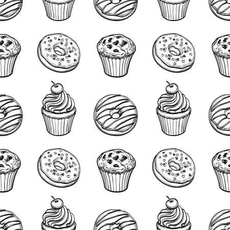 muffins: Seamless pattern with donuts, muffins and cupcakes. Hand drawn vector illustration.