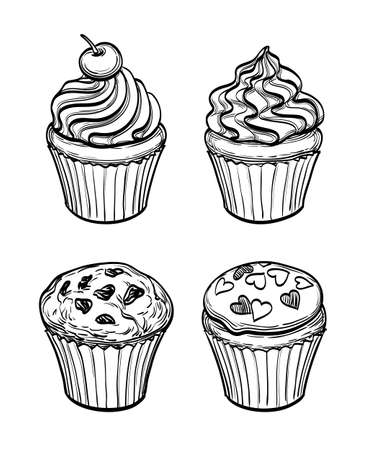 cupcakes isolated: Set of muffins and cupcakes. Sketch. Pastry sweets collection isolated on white background. Hand drawn vector illustration.