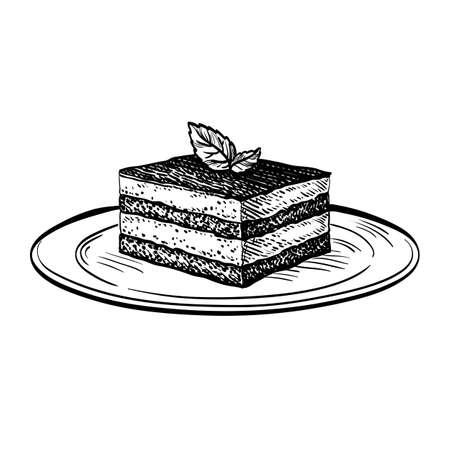 Hand drawn vector illustration of tiramisu isolated on white background. Retro style.