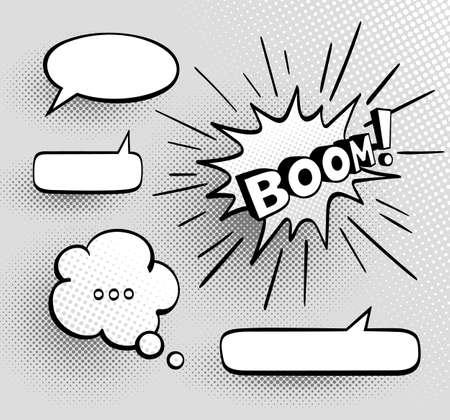 Set of speech comic bubbles. Comic sound effect. Halftone shadows. Vector illustration.