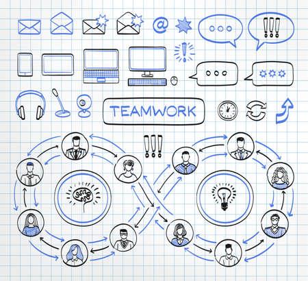 ビジネスは落書き用紙の背景の概念です。ベクトル手描きスケッチ アイコンは、黒と青の色に設定します。チームの仕事。人々 を接続します。  イラスト・ベクター素材