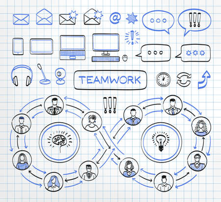 Business doodle concept on paper background. Vector hand drawn sketch icons set in black and blue colors. Team work. Connecting people.