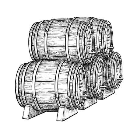 Wein oder Bierfässern auf weißem Hintergrund. Vektor-Illustration.