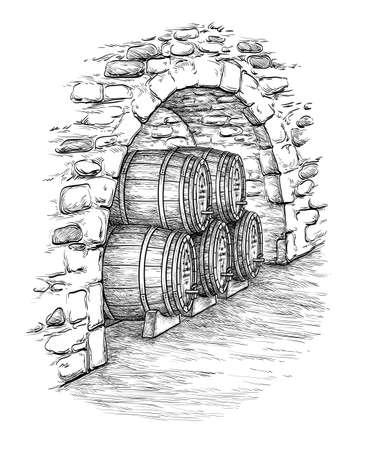 Starożytna piwnica z drewnianymi beczkami wina. Samodzielnie na białym tle. Ręcznie rysowane ilustracji wektorowych.