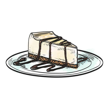 Hand drawn vector illustration of cheesecake. Watercolor background.