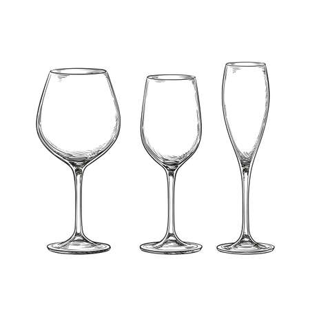 Set of empty glasses. Red wine, white wine and champagne. Isolated on white background. Hand drawn vector illustration. Retro style.