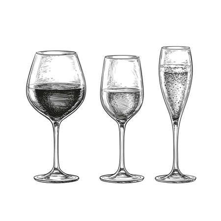 使い捨てからすのセットです。赤ワイン、白ワインとシャンパン。白い背景上に分離。手には、ベクター グラフィックが描画されます。レトロなス