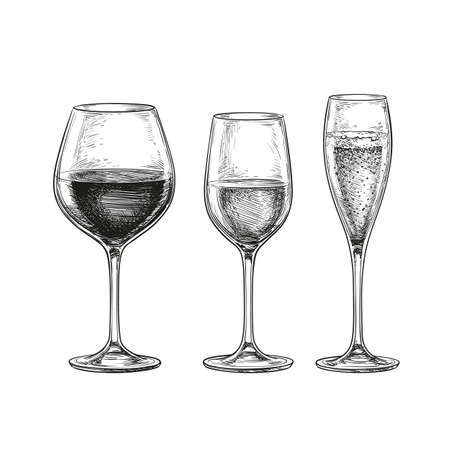 wineglasses: Set of wineglasses. Red wine, white wine and champagne. Isolated on white background. Hand drawn vector illustration. Retro style.