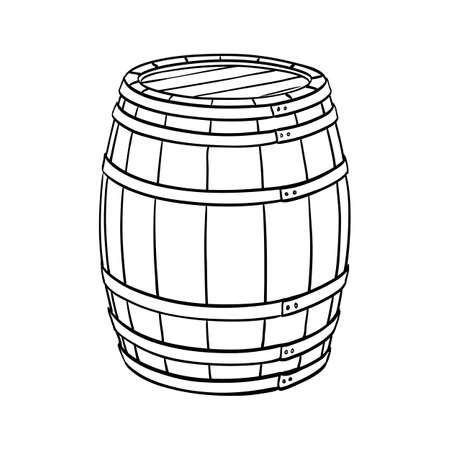Line sketch of barrel isolated on white background. Vector illustration. Vettoriali