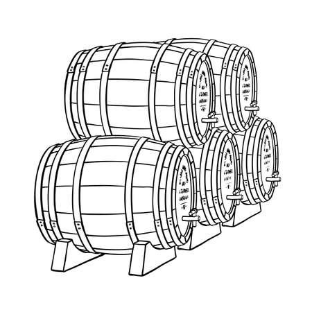 Wein oder Bierfässern auf weißem Hintergrund. Vektor-Illustration. Vektorgrafik