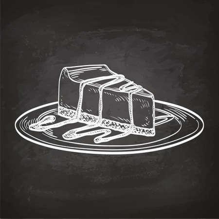 cheesecake: Illusrtation of cheesecake on chalkboard. Hand drawn sketch.