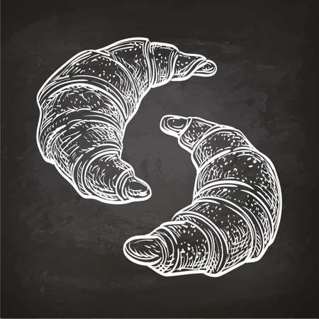 Vector illustration of croissants. Hand drawn sketch on chalkboard.
