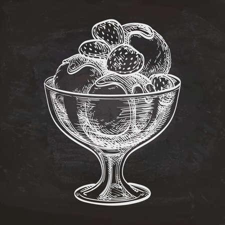 Illusrtation of ice cream on chalkboard. Hand drawn sketch.