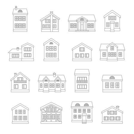 residential neighborhood: House line icons set isolated on white background. Vector illustration. Illustration
