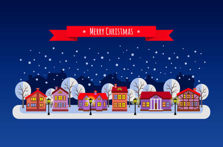 Winter night. Flat style vector illustration of Christmas town. New year and Xmas Holidays design. Illustration