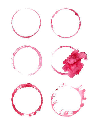 Red wine stains. Design elements isolated on white. Abstract watercolor background. Stock Vector - 66933000