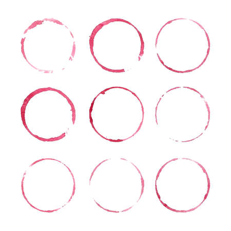 Red wine stains. Design elements isolated on white. Abstract watercolor background. Illustration