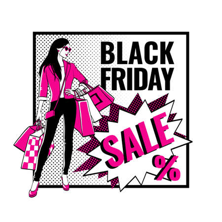 Black Friday sale banner. Girl with shopping bags. Comic bubbles and halftone shadows. Vector illustration.