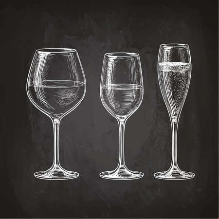 wineglasses: Set of wineglasses. Red wine, white wine and champagne. Hand drawn sketch on chalkboard. Illustration