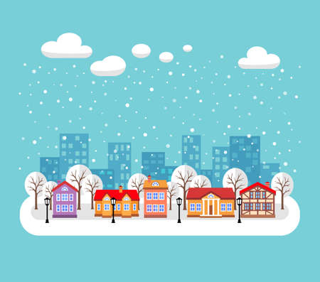 Winter town. Flat style vector illustration of Christmas cityscape. New year and Xmas Holidays design.