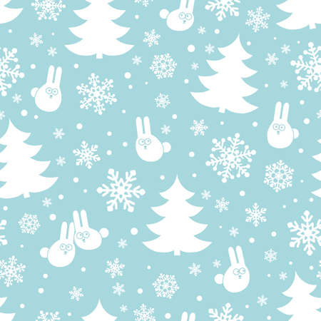hares: Seamless pattern with snowflakes, hares and fir trees. Winter background.