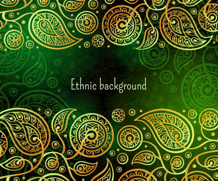 Ethnic background in gold and green colors. Oriental decorative pattern. Boho style vector illustration. Illustration