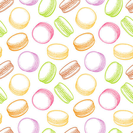 macaron: seamless pattern with macaroons. Pastry sweets collection.  Hand drawn vector illustration