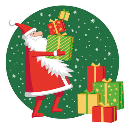 Santa Claus with gift boxes. Vector illustration of character. Illustration