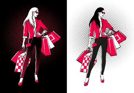Women with shopping bags. Two versions on blak and white backgrounds. Halftone shadows. Comic style. Illustration