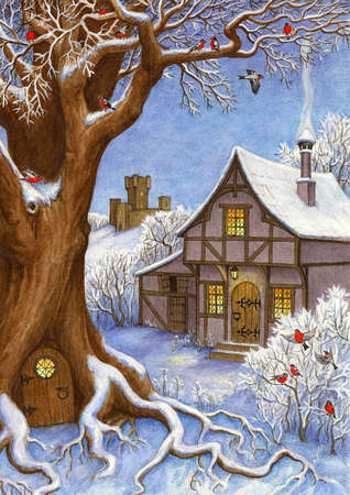 Watercolor illustration. Winter fairytale landscape. Christmas greeting card. New year and Xmas Holidays design.