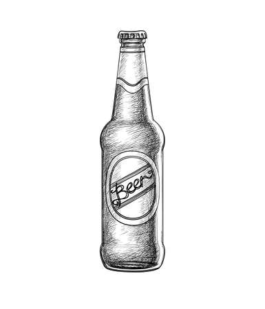 Beer bottle isolated on white background. Hand drawn vector illustration. Retro style.