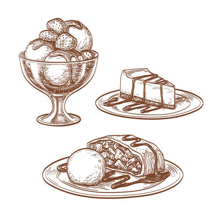 cheesecake: Set of desserts. Ice cream, cheesecake,  apple strudel. Isolated on white background. Hand drawn vector illustration. Retro style.