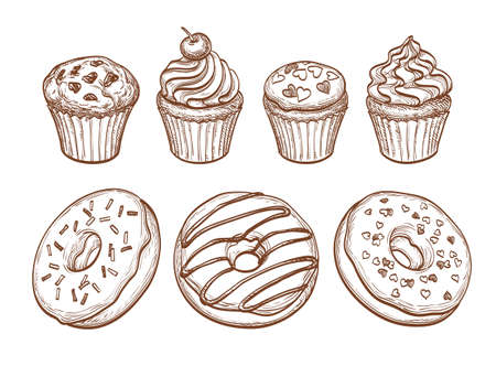 raisin: Set of donuts, muffins and cupcakes.  Sketch. Pastry sweets collection isolated on white background. Hand drawn vector illustration.