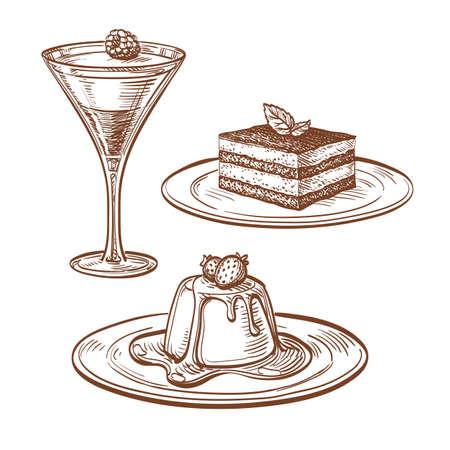 Set of desserts. Isolated on white background. Hand drawn vector illustration. Retro style. Illustration