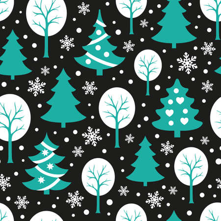 Seamless pattern with snowflakes and Christmas trees on black background. New year and Xmas Holidays background. Illustration