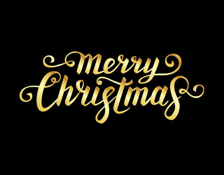 Merry Christmas text. Calligraphic Lettering. New year and Xmas Holidays design.