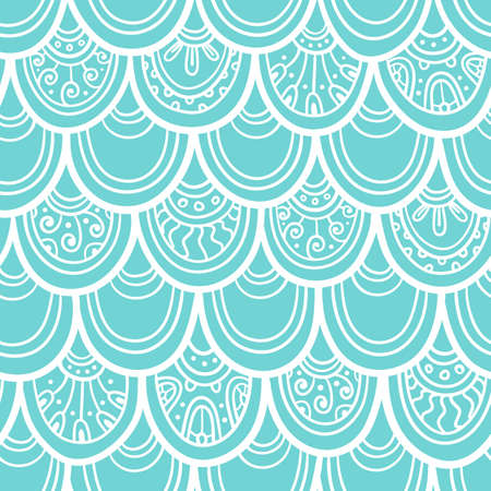 Scale seamless pattern. Ethnic background. Oriental decorative elements. Boho style illustration.