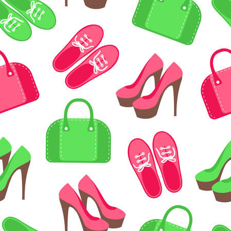 handbags: Seamless pattern with shoes and handbags Illustration