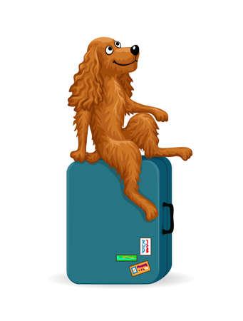 Cartoon dog sitting on a suitcase Ilustrace