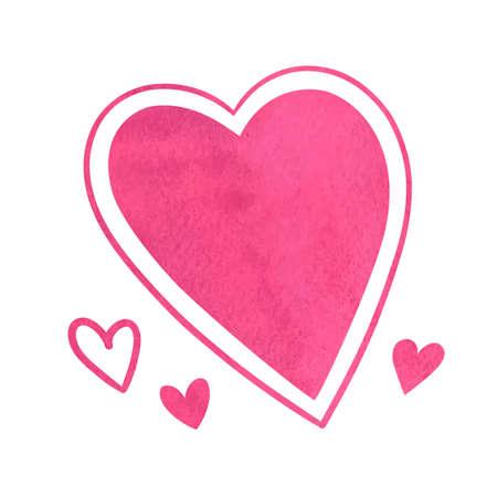 wedding feast: Pink watercolor hearts.