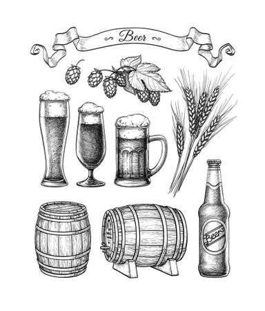 Duży zestaw piwa. Ilustracje wektorowe