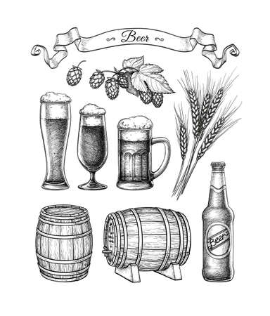 Big beer set. Illustration